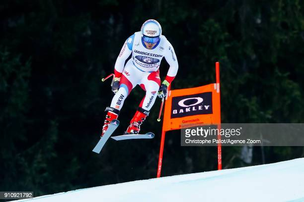 Mauro Caviezel of Switzerland competes during the Audi FIS Alpine Ski World Cup Men's Downhill on January 27 2018 in GarmischPartenkirchen Germany