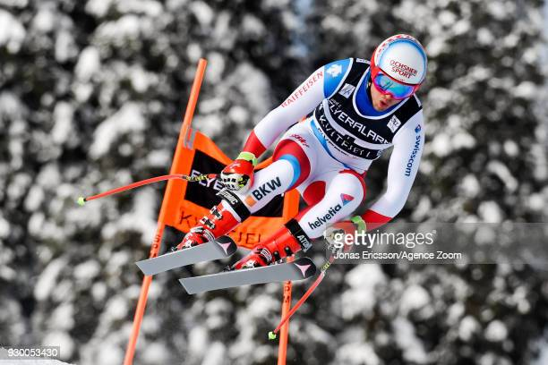 Mauro Caviezel of Switzerland competes during the Audi FIS Alpine Ski World Cup Men's Downhill on March 10 2018 in Kvitfjell Norway