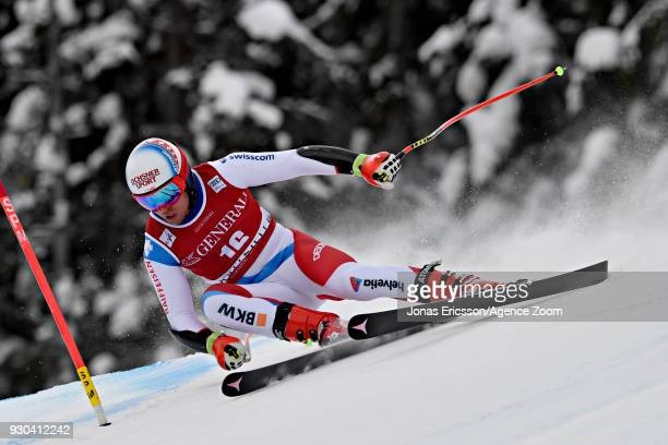 Mauro Caviezel of Switzerland competes during the Audi FIS Alpine Ski World Cup Men's Super G on March 11 2018 in Kvitfjell Norway