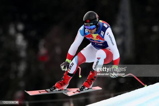 Mauro Caviezel of Switzerland competes during the Hahnenkamm Rennen Audi FIS Alpine Ski World Sup Men's Downhill at Streif on January 25 2020 in...