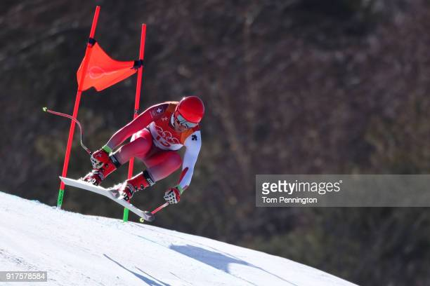 Mauro Caviezel of Switzerland competes during the Men's Alpine Combined Downhill on day four of the PyeongChang 2018 Winter Olympic Games at...