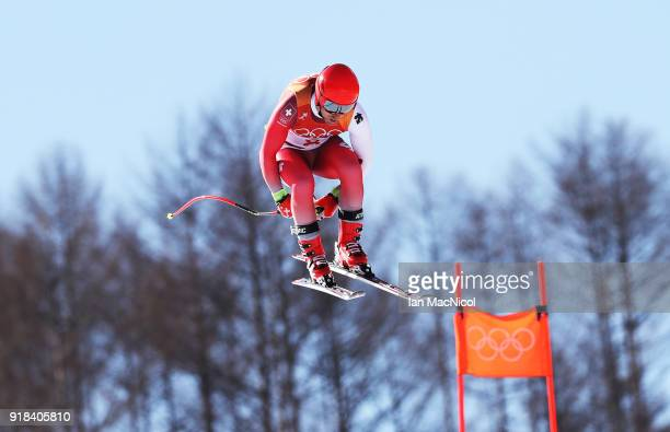 Mauro Caviezel of Switzerland competes during the Men's Downhill at Jeongseon Alpine Centre on February 15 2018 in Pyeongchanggun South Korea