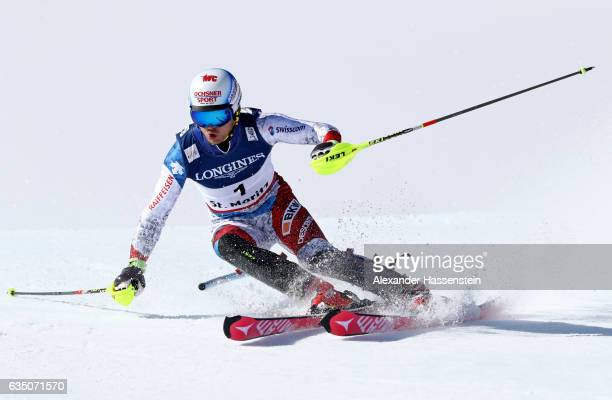 Mauro Caviezel of Switzerland competes in the Men's Combined Slalom during the FIS Alpine World Ski Championships on February 13 2017 in St Moritz...