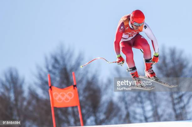 Mauro Caviezel of  Switzerland competing in mens downhill at Jeongseon Alpine Centre at Jeongseon South Korea on February 15 2018