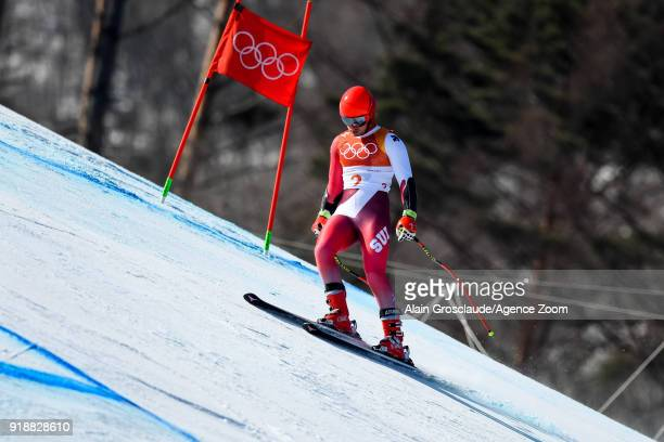 Mauro Caviezel of Switzerland crashes out during the Alpine Skiing Men's SuperG at Jeongseon Alpine Centre on February 16 2018 in Pyeongchanggun...