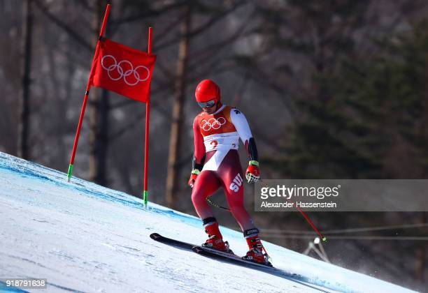 Mauro Caviezel of Switzerland goes off course during the Men's SuperG on day seven of the PyeongChang 2018 Winter Olympic Games at Jeongseon Alpine...