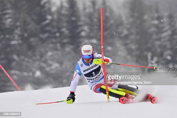 Mauro Caviezel of Switzerland in action during the Audi FIS Alpine Ski World Cup Men's Alpine Combined on January 18 2019 in Wengen Switzerland