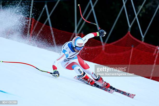 Mauro Caviezel of Switzerland in action during the Audi FIS Alpine Ski World Cup Men's Combined on January 12 2018 in Wengen Switzerland