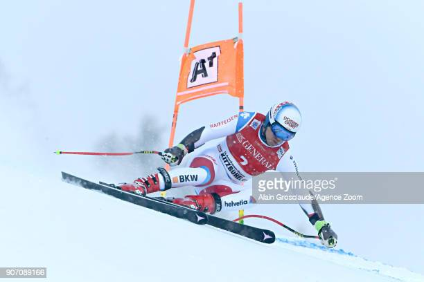 Mauro Caviezel of Switzerland in action during the Audi FIS Alpine Ski World Cup Men's Super G on January 19 2018 in Kitzbuehel Austria