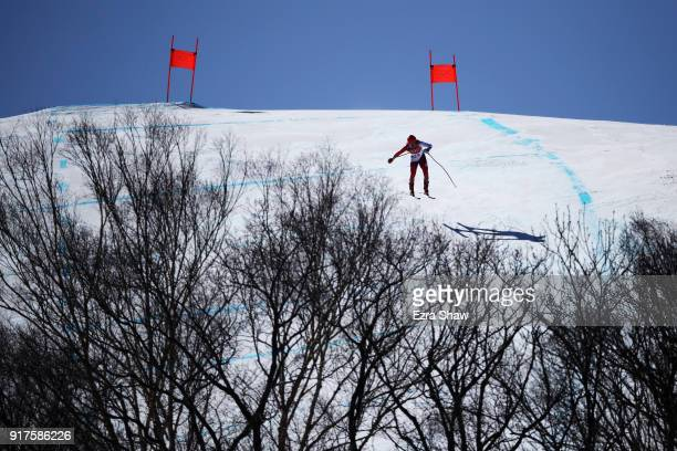 Mauro Caviezel of Switzerland makes a run during the Men's Alpine Combined Downhill on day four of the PyeongChang 2018 Winter Olympic Games at...