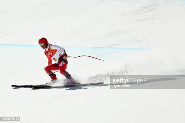 Mauro Caviezel of Switzerland makes a run during the Men's Downhill on day six of the PyeongChang 2018 Winter Olympic Games at Jeongseon Alpine...