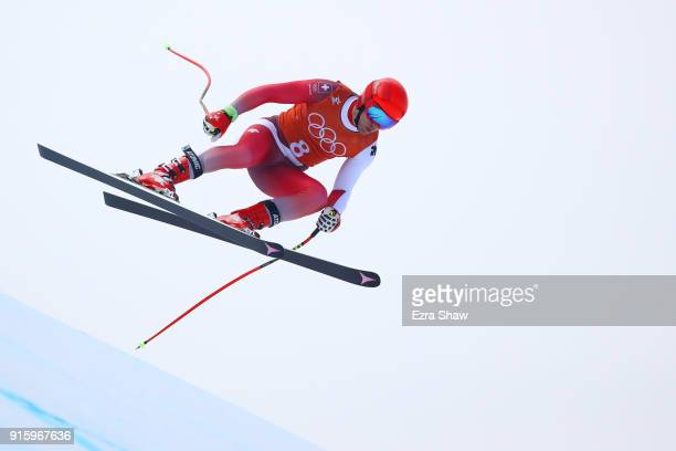 Mauro Caviezel of Switzerland makes a run during the Men's Downhill Alpine Skiing training at Jeongseon Alpine Centre on February 9 2018 in...