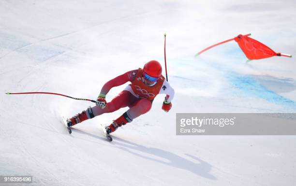 Mauro Caviezel of Switzerland makes a run during the Men's Downhill 3rd Training on day one of the PyeongChang 2018 Winter Olympic Games at Jeongseon...