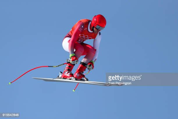 Mauro Caviezel of Switzerland makes his run during the Men's Downhill Alpine Skiing training at Jeongseon Alpine Centre on February 8 2018 in...