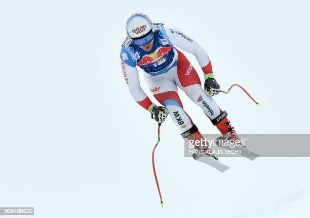 Mauro Caviezel of Switzerland performs during a training session of the FIS Alpine World Cup Men's downhill event in Kitzbuehel Austria on January 18...