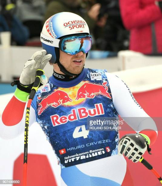Mauro Caviezel of Switzerland reacts after competing in the men's downhill event at the FIS Alpine World Cup in Kitzbuehel Austria on January 20 2018...