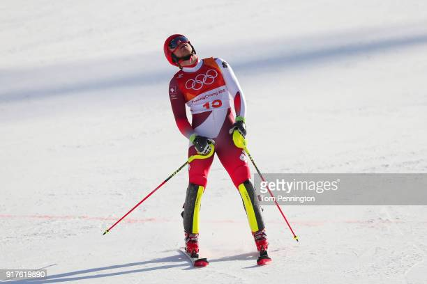 Mauro Caviezel of Switzerland reacts at the finish during the Men's Alpine Combined Slalom on day four of the PyeongChang 2018 Winter Olympic Games...