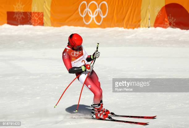 Mauro Caviezel of Switzerland reacts at the finish during the Men's SuperG on day seven of the PyeongChang 2018 Winter Olympic Games at Jeongseon...