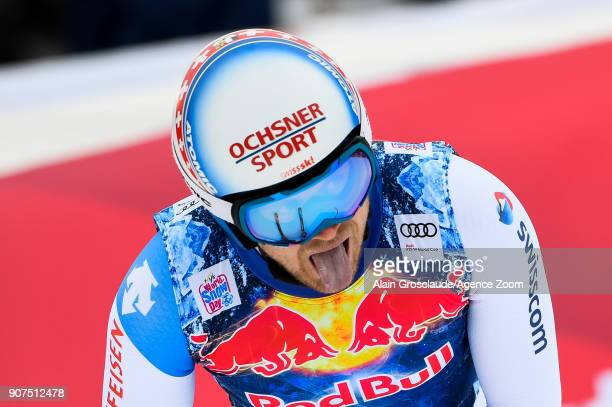 Mauro Caviezel of Switzerland reacts during the Audi FIS Alpine Ski World Cup Men's Downhill on January 20 2018 in Kitzbuehel Austria