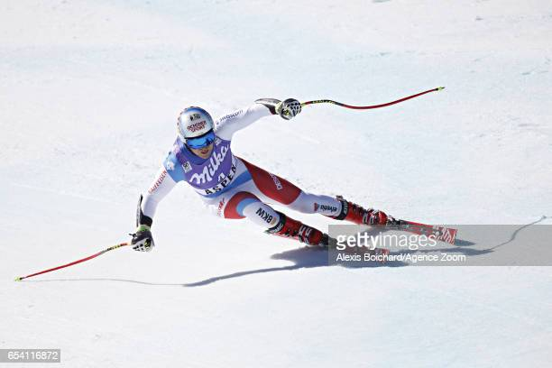 Mauro Caviezel of Switzerland takes 3rd place during the Audi FIS Alpine Ski World Cup Finals Women's and Men's SuperG on March 16 2017 in Aspen...