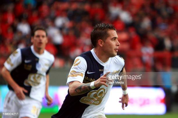 Mauro Cejas of Pachuca celebrates a scored goal during a match against Toluca as part of the Clausura 2012 at Nemesio Diez Stadium on February 05...