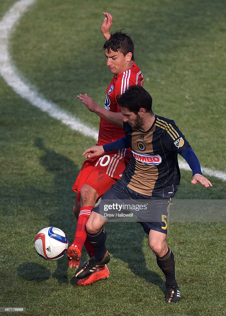 Mauro Diaz #10 of FC Dallas and Vincent Nogueira #5 of Philadelphia Union fight for the ball at PPL Park on March 21, 2015 in Chester, Pennsylvania. Dallas won 2-0.