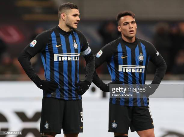 Mauro Emanuel Icardi and Lautaro Martinez of FC Internazionale look on during the Serie A match between FC Internazionale and US Sassuolo at Stadio...