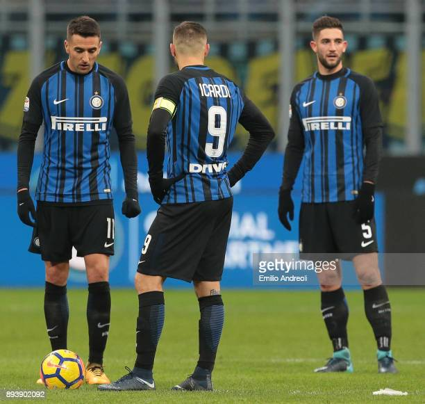 Mauro Emanuel Icardi Matias Vecino and Roberto Gagliardini show their dejection during the Serie A match between FC Internazionale and Udinese Calcio...
