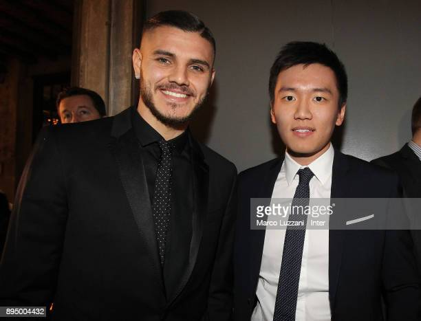 Mauro Emanuel Icardi of FC Internazionale and FC Internazionale board member Steven Zhang attend FC Internazionale Christmas Party on December 18...