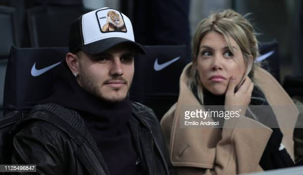 Mauro Emanuel Icardi of FC Internazionale and his wife Wanda Nara attend the Serie A match between FC Internazionale and UC Sampdoria at Stadio...
