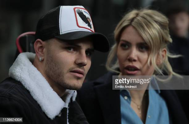 Mauro Emanuel Icardi of FC Internazionale and his wife Wanda Nara attend the UEFA Europa League Round of 32 Second Leg match between FC...