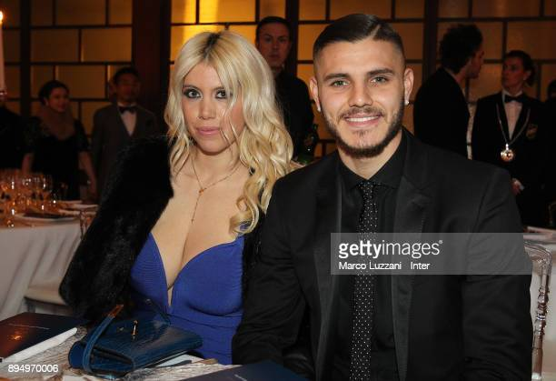 Mauro Emanuel Icardi of FC Internazionale and Wanda Nara attend FC Internazionale Christmas Party on December 18 2017 in Milan Italy