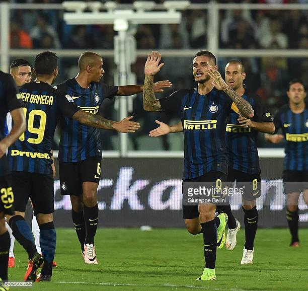 Mauro Emanuel Icardi of FC Internazionale celebrates after scoring the goal 11 during the Serie A match between Pescara Calcio and FC Internazionale...
