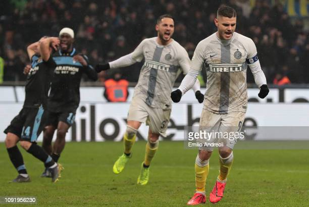 Mauro Emanuel Icardi of FC Internazionale celebrates his goal during the Coppa Italia match between FC Internazionale and SS Lazio at Stadio Giuseppe...