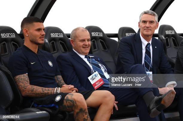 Mauro Emanuel Icardi of FC Internazionale Chief Football Administrator of FC Internazionale Milano Giovanni Gardini and CEO of FC Internazionale...