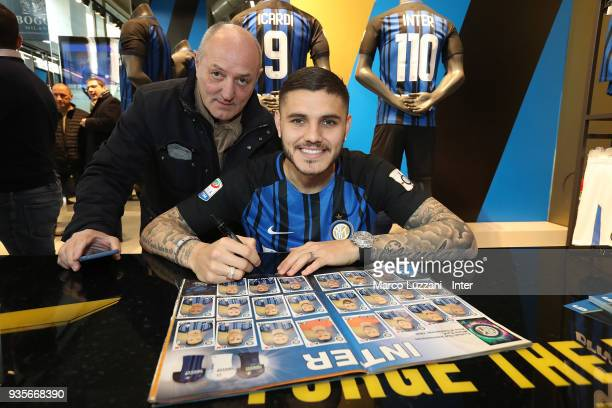 Mauro Emanuel Icardi of FC Internazionale during Autograph Session on March 21 2018 in Milan Italy