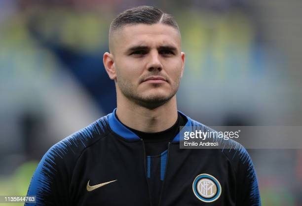 Mauro Emanuel Icardi of FC Internazionale looks on prior to the Serie A match between FC Internazionale and Atalanta BC at Stadio Giuseppe Meazza on...