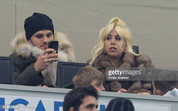 Mauro Emanuel Icardi of FC Internazionale Milano and his wife Wanda Nara attend the serie A match between FC Internazionale and FC Crotone at Stadio...