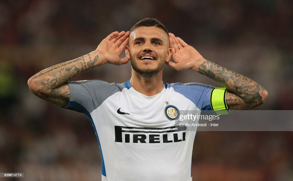 Mauro Emanuel Icardi of FC Internazionale Milano celebrates his goal during the Serie A match between AS Roma and FC Internazionale on August 26, 2017 in Rome, Italy.