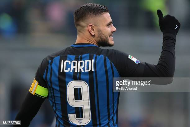 Mauro Emanuel Icardi of FC Internazionale Milano gestures during the Serie A match between FC Internazionale and AC Chievo Verona at Stadio Giuseppe...