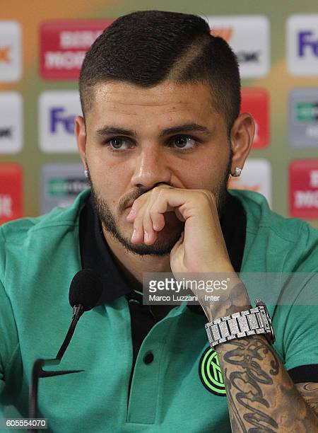 Mauro Emanuel Icardi of FC Internazionale Milano speaks to the media during a press conference on the eve of their UEFA Europa League Group stage...