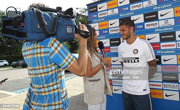 Mauro Emanuel Icardi of FC Internazionale Milano take an interview at the club's training ground 'La Pinetina' on July 4 2016 in Como Italy