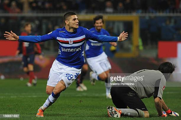 Mauro Emanuel Icardi of UC Sampdoria celebrates a goal during the Serie A match between UC Sampdoria and Genoa CFC at Stadio Luigi Ferraris on...