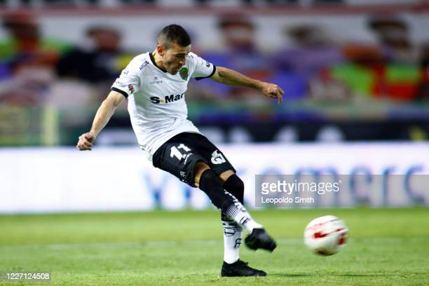 Mauro Fernandez of FC Juarez takes a shot during a match between Leon and FC Juarez as part of the friendly tournament Copa Telcel at Leon Stadium on...