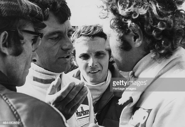 Mauro Forghieri Alex SolerRoig Niki Lauda and Jocken Mass at Zandvoort Pictured from left to right Forghieri designed cars and engines for Ferrari...