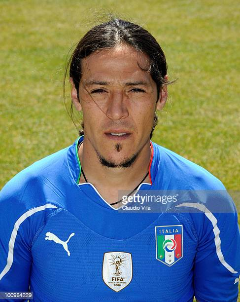 Mauro German Camoranesi of Italy poses during the official Fifa World Cup 2010 portrait session on May 26 2010 in Sestriere near Turin Italy