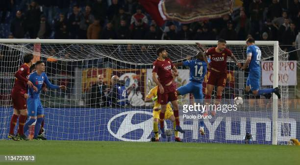 Mauro German Pezzella of ACF Fiorentina scores the opening goal during the Serie A match between AS Roma and ACF Fiorentina at Stadio Olimpico on...