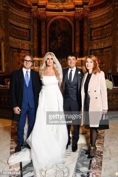 Mauro Graiani Tiziana Rocca Giulio Base and Milena Miconi attends the Tiziana Rocca And Giulio Base wedding at Chiesa di Sant'Agostino dei Portoghesi...