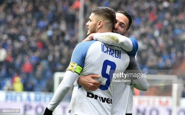 Mauro Icardi and Danilo D'Ambrosio of Inter celebrate during the serie A match between UC Sampdoria and FC Internazionale at Stadio Luigi Ferraris on...