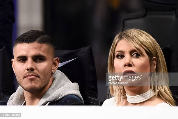 Mauro Icardi and his wife and football agent Wanda Nara attend the Serie A football match between FC Internazionale and SS Lazio SS Lazio won 10 over...